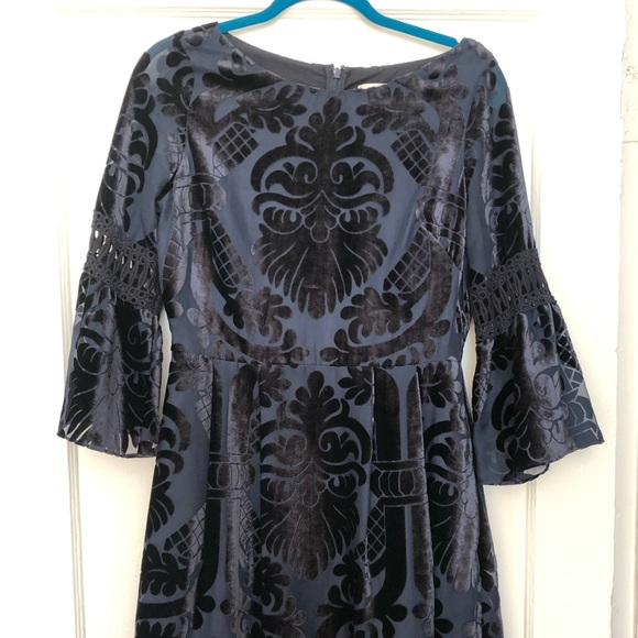 Eliza J Velvet Bell-Sleeve Party Dress